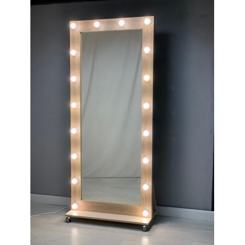 Гримерное зеркало на роликах во весь рост 180х80 Светлый дуб